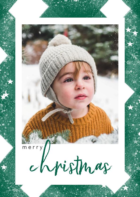 Kerstkaarten - Klassieke kerstkaart met ruitenpatroon, sneeuw en grote foto