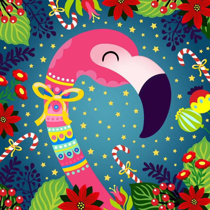 Kerstkaarten - Kleurrijke kerstkaart met flamingo en bloemen