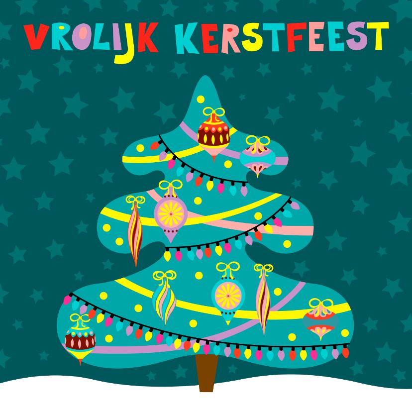 Kerstkaarten - Kleurrijke kerstkaart met versierde kerstboom