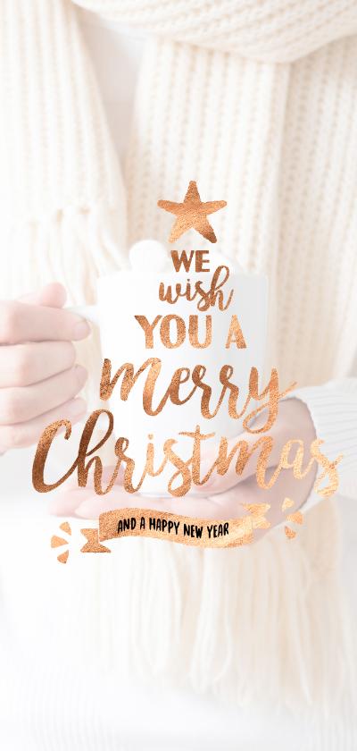 Kerstkaarten - Koperen kerstkaart met tekst in de vorm van een kerstboom