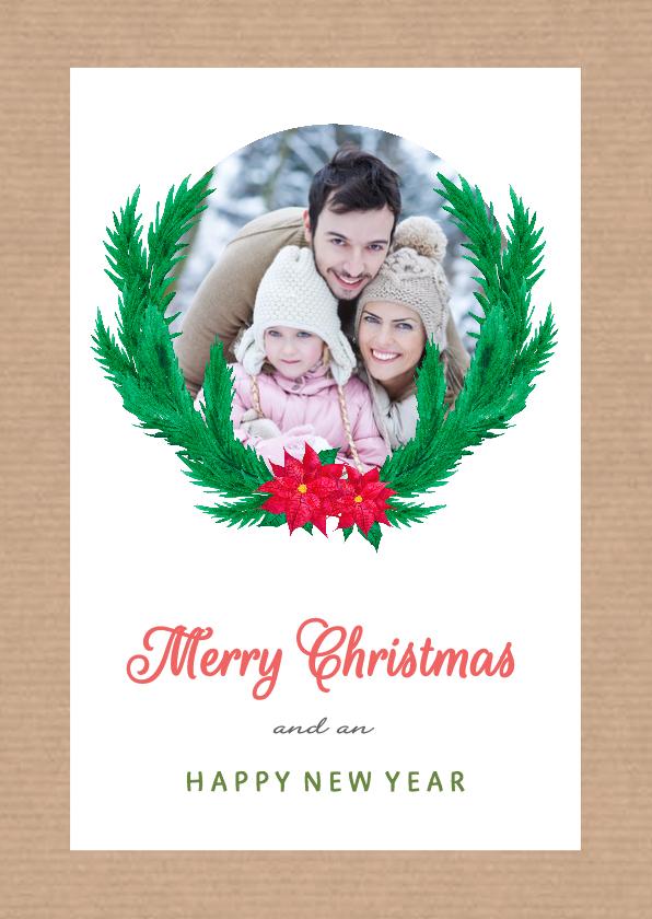 Kerstkaarten - Kraft kerstkrans met foto - SU