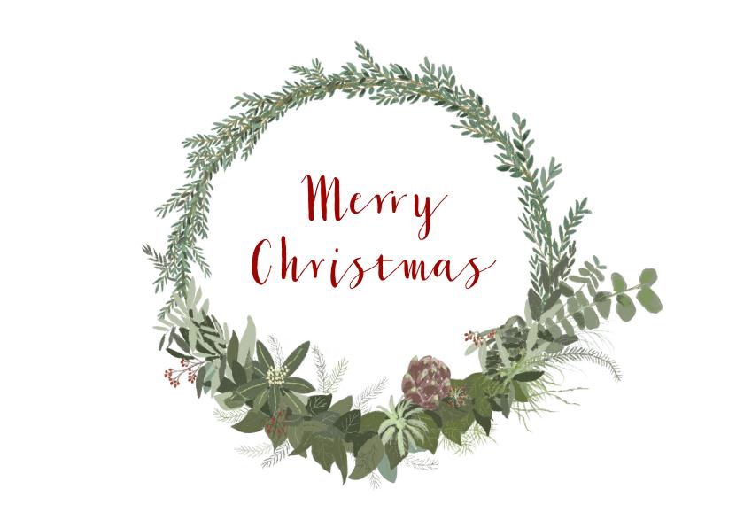 Kerstkaarten - krans met kerst- en nieuwjaarswens