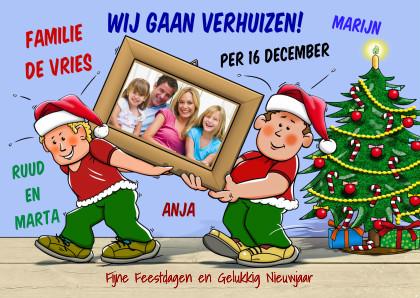 Kerstkaarten - Leuke kerst-verhuiskaart verhuizers met eigen foto