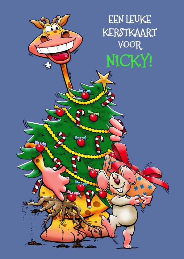 Kerstkaarten - Leuke kerstkaart met giraf en muis met kerstboom en pakje