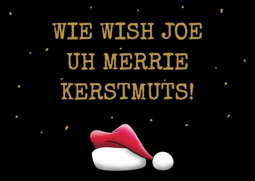 Kerstkaarten - Leuke kerstkaart met kerstmuts en grappige teksten