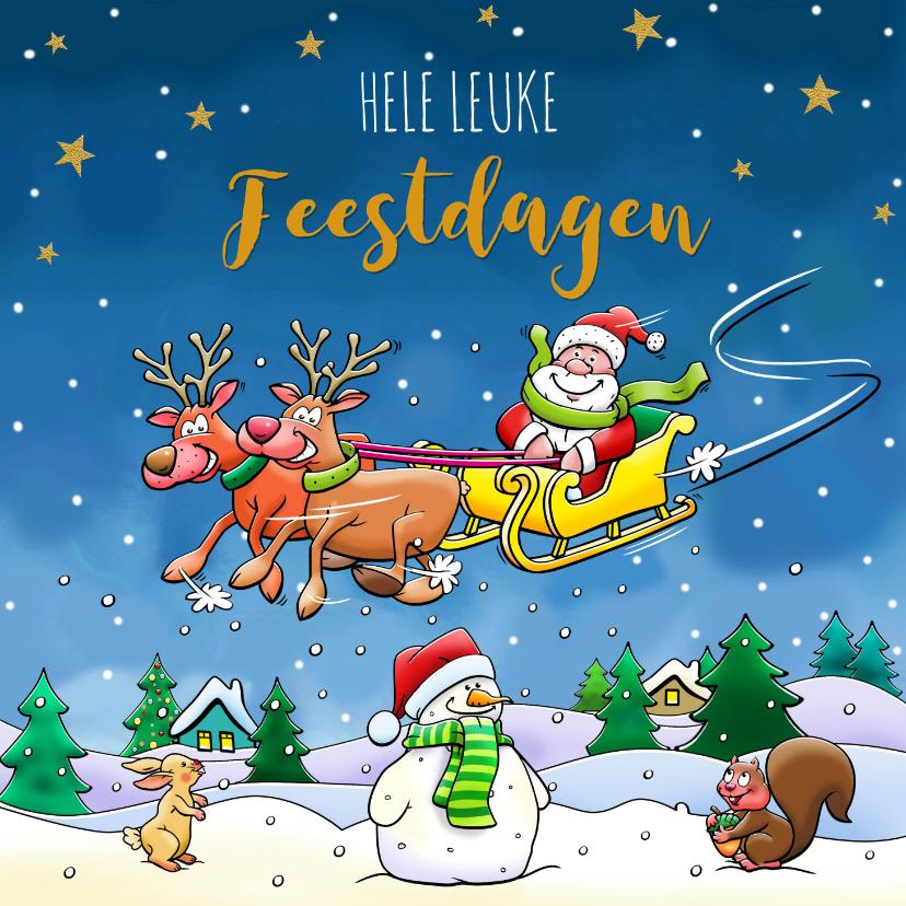 Kerstkaarten - Leuke kerstkaart met vliegende arrenslee en kerstman