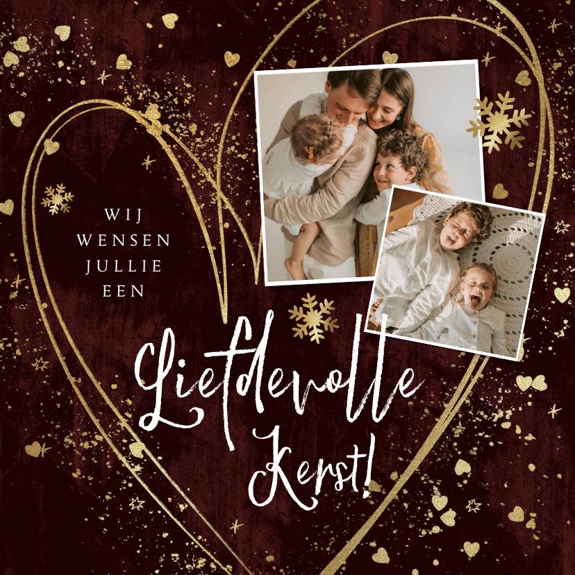 Kerstkaarten - Liefdevolle kerstkaart met hart sterretjes en spetters goud