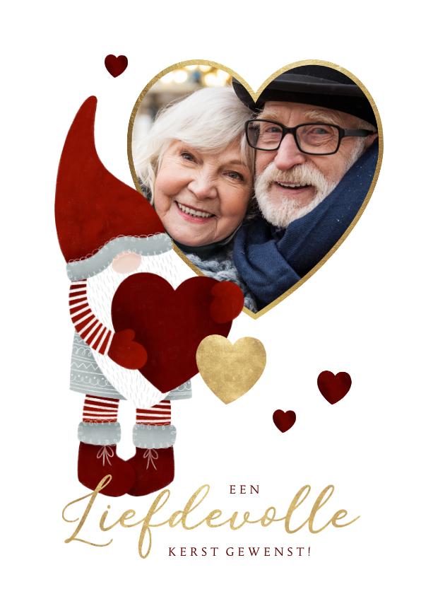 Kerstkaarten - Liefdevolle kerstkaart met leuke kerstman, hartjes en foto