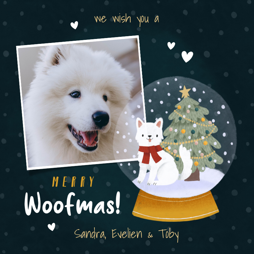 Kerstkaarten - Lieve kerstkaart met foto hond in sneeuwbol en kerstboom