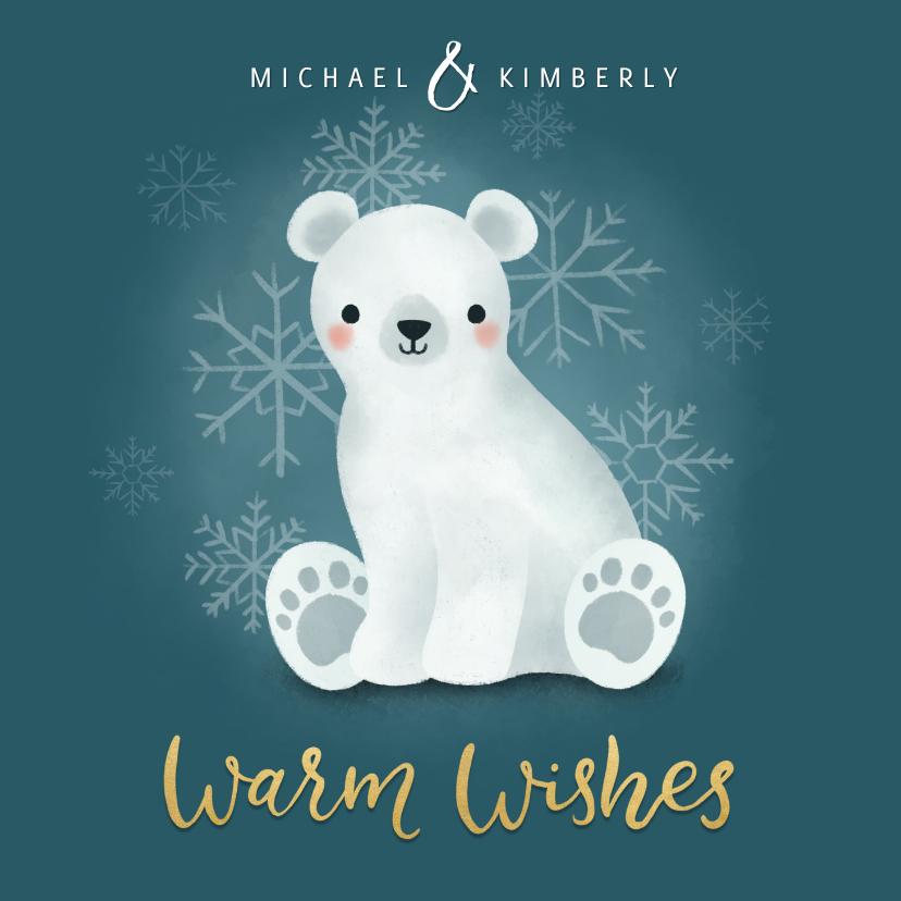 Kerstkaarten - Lieve kerstkaart met ijsbeertje, warm wishes & sneeuwvlokken