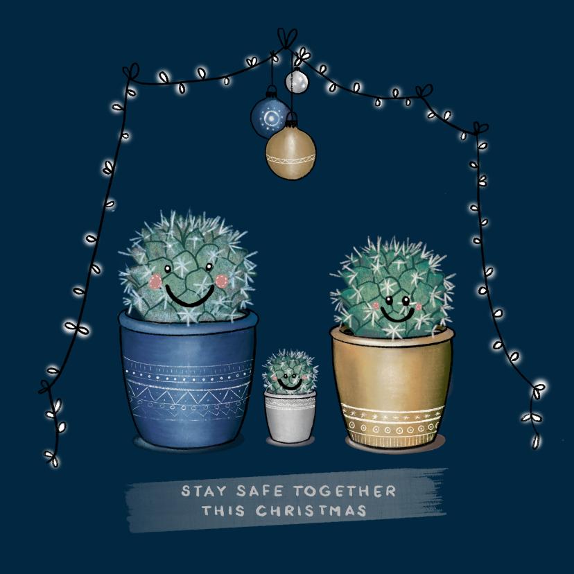 Kerstkaarten - Lieve kerstkaart met illustratie van vrolijk cactusgezin