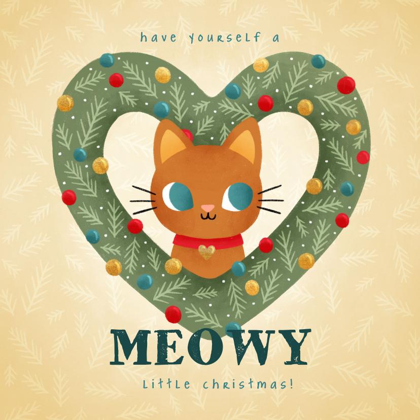 Kerstkaarten - Lieve kerstkaart met kat in hartvormige krans en kerstballen