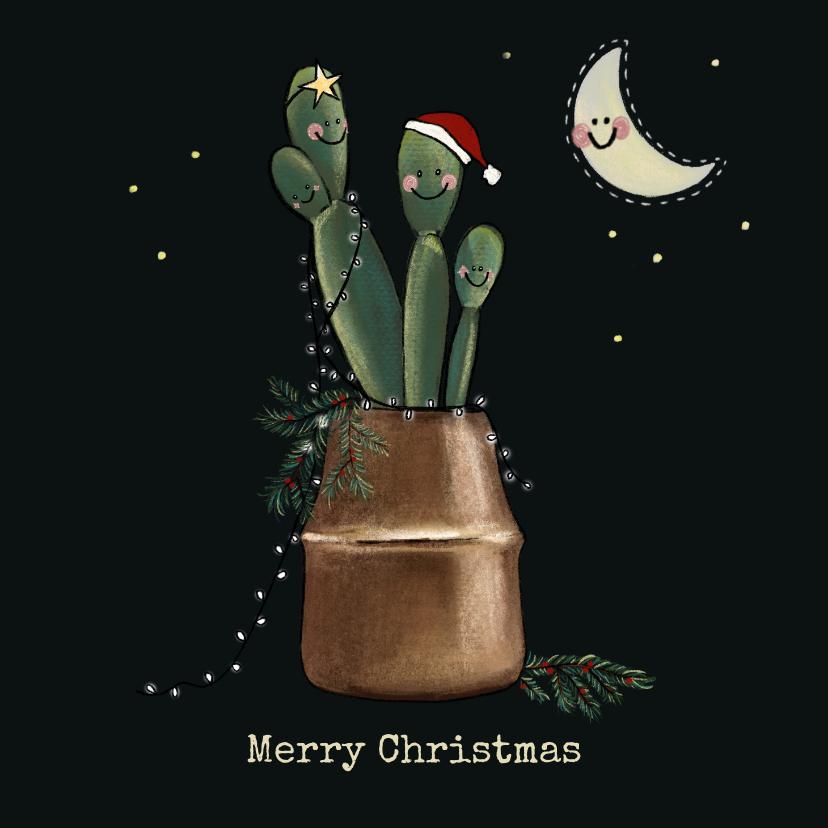 Kerstkaarten - Lieve kerstkaart van vriendelijke cactussen in koperen pot
