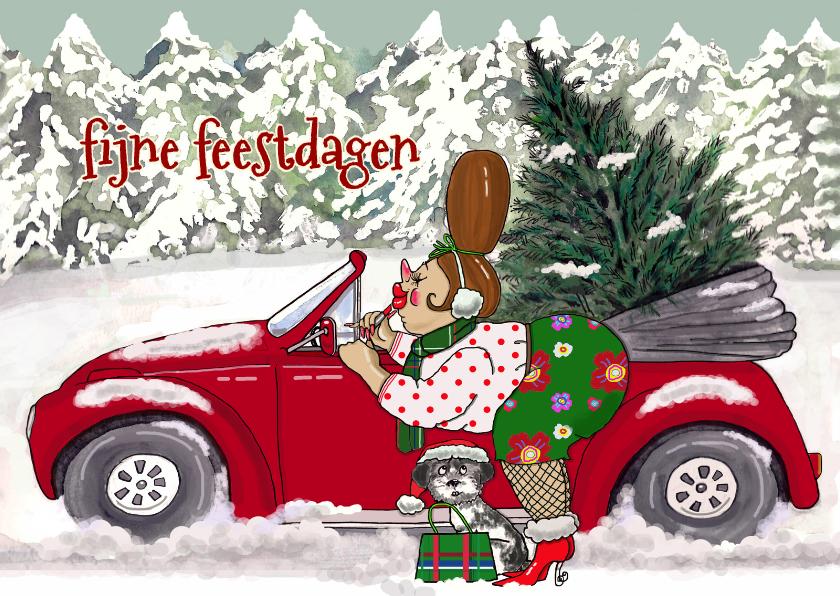 Kerstkaarten - Lippen stiften auto kerstboom