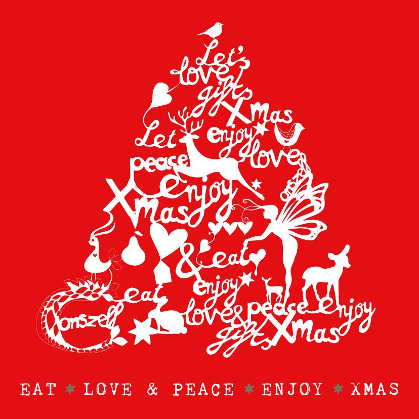 Kerstkaarten - llustratie kerstkaart kerstboom met tekst