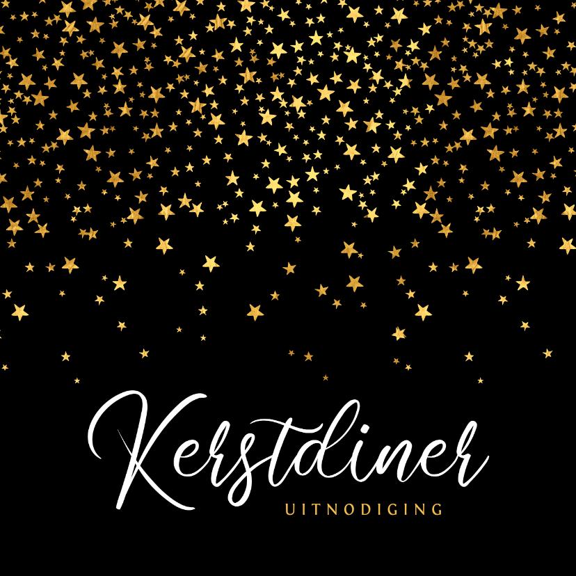 Kerstkaarten - luxe uitnodiging kerstdiner sterren goud confetti
