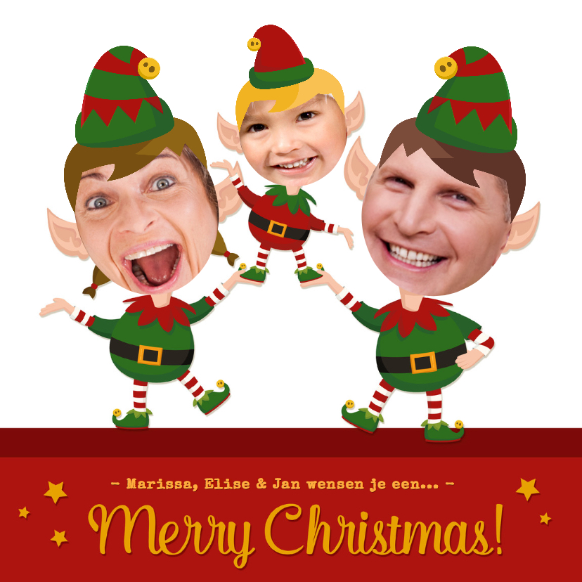 Kerstkaarten - Maak van jezelf een Elf - 3 pers