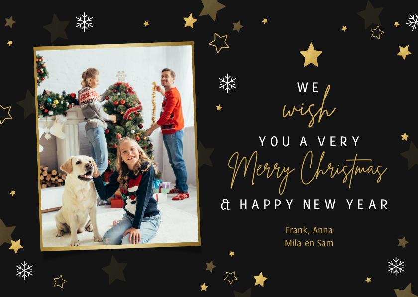 Kerstkaarten - Make-A-Wish kerst Merry Christmas met foto en sterren
