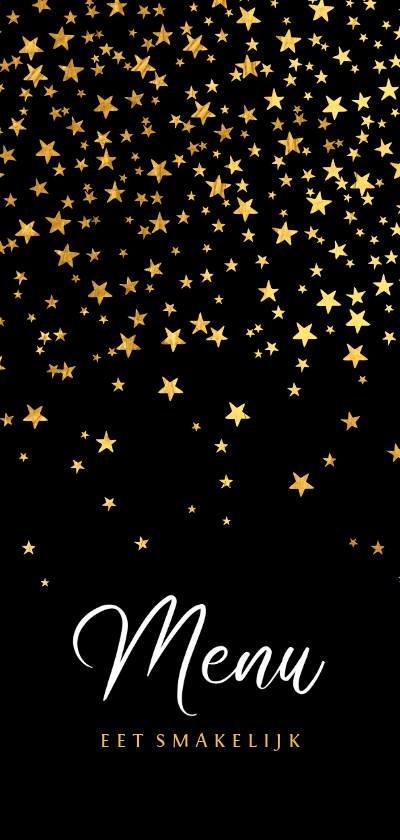 Kerstkaarten - Menukaart kerstdiner goud sterren confetti