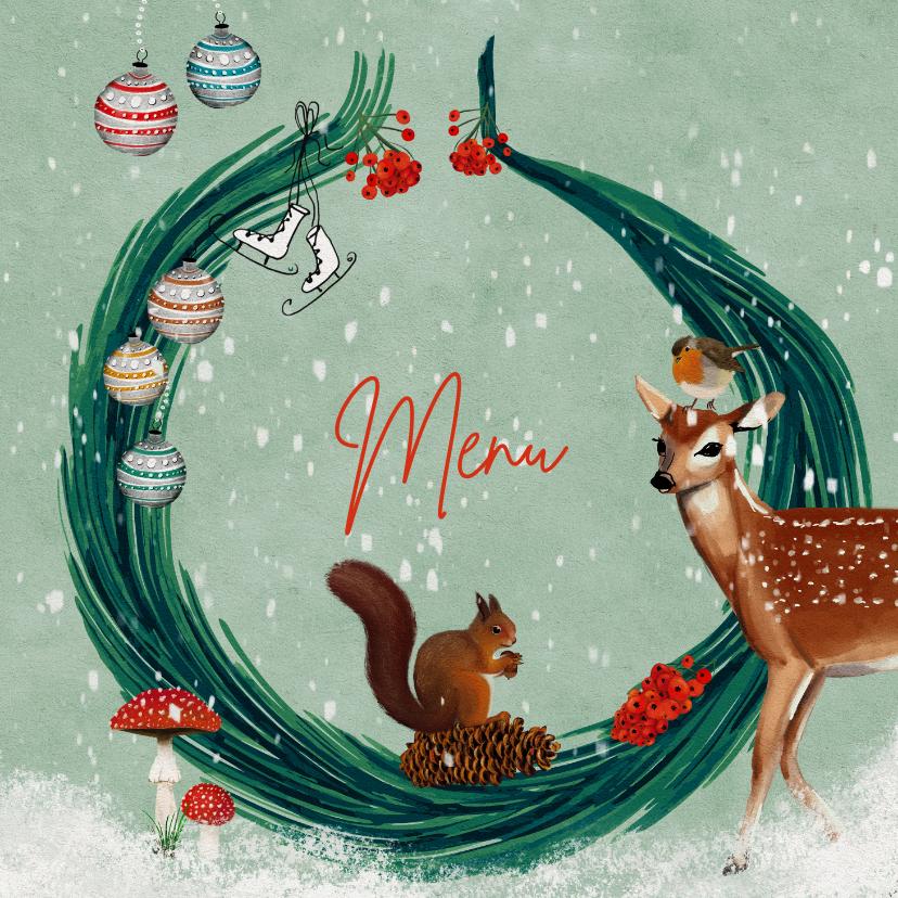 Kerstkaarten - Menukaart met kersttakjes