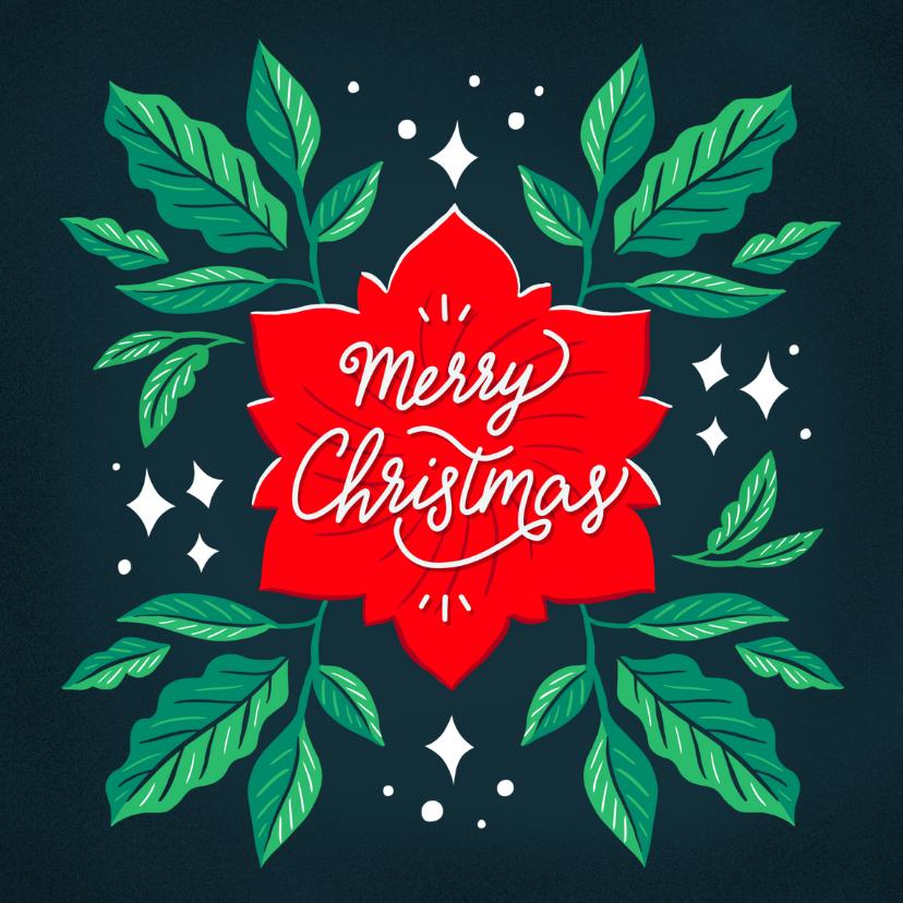 Kerstkaarten - Merry Christmas groene bladeren illustratie