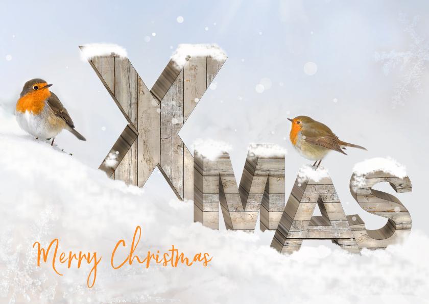 Kerstkaarten - Merry Christmas houten letters