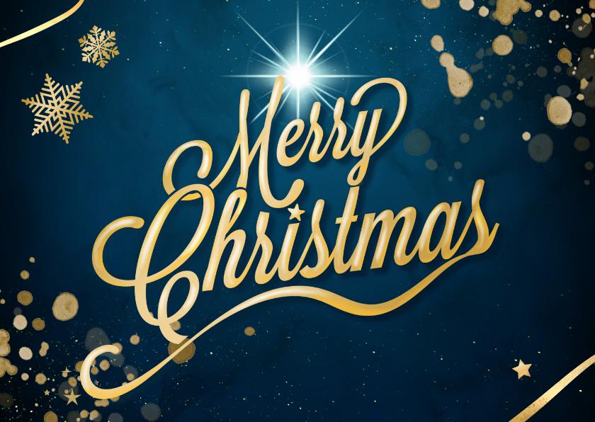 Kerstkaarten - Merry Christmas in goud op blauw