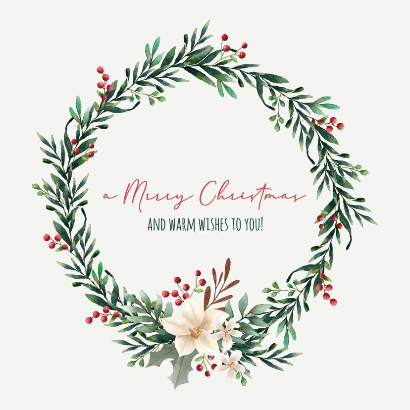 Kerstkaarten - Merry Christmas kerstkrans besjes - kerstkaart
