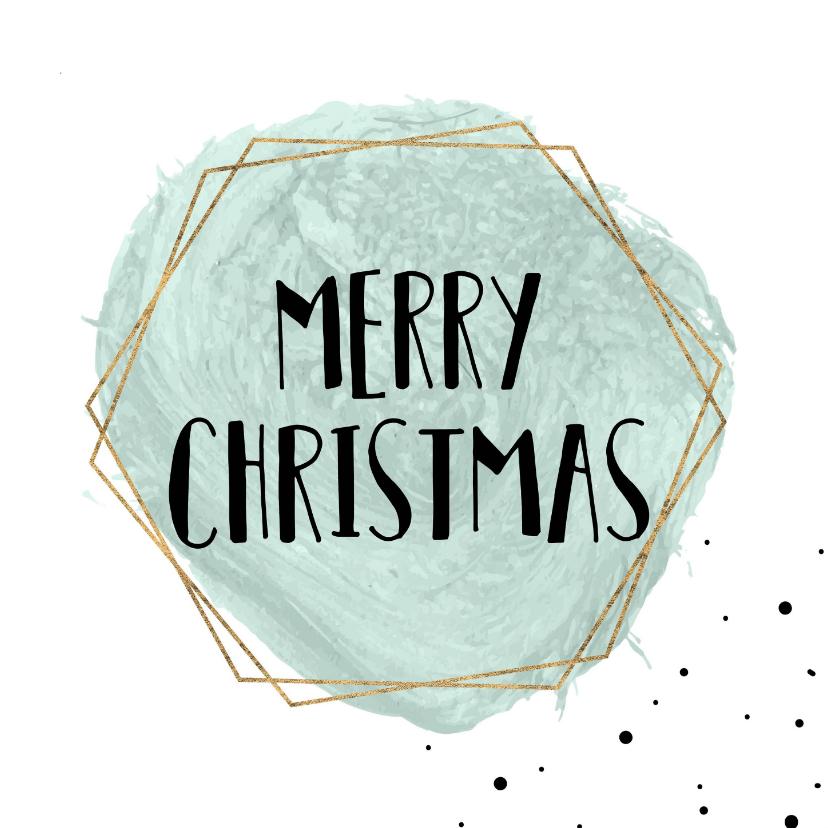 Kerstkaarten - Merry Christmas Waterverf met goud kader