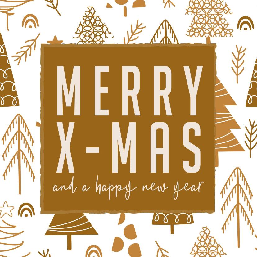 Kerstkaarten - Merry X-mas and a happy new year mosterd gele kerstbomen