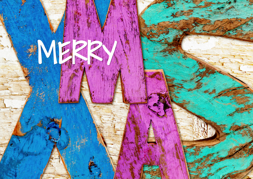 Kerstkaarten - Merry X-MAS stoere letters hout