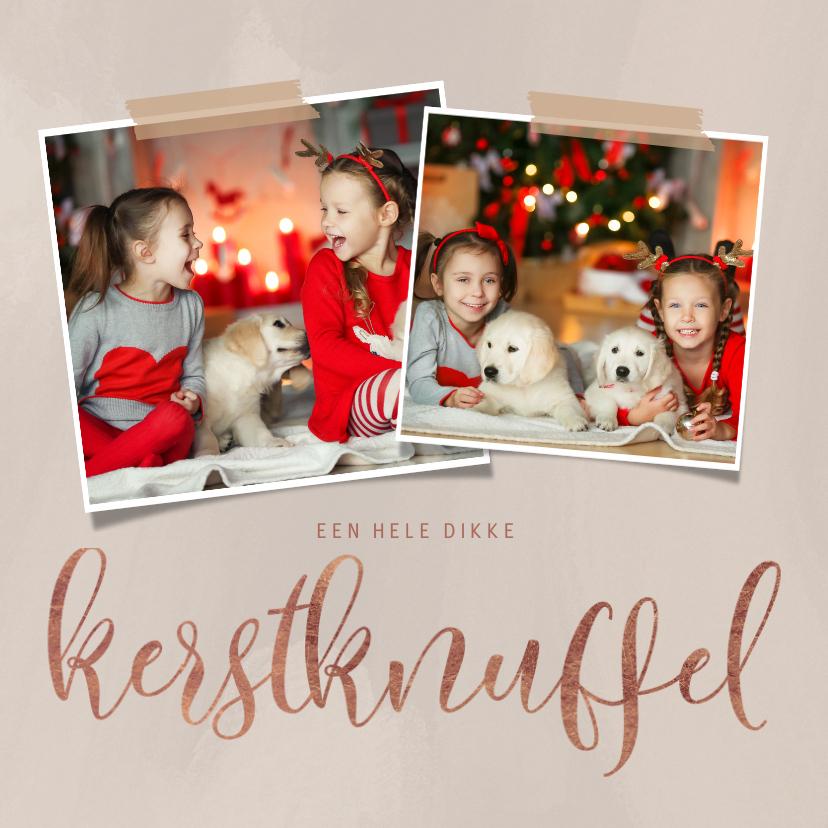Kerstkaarten - Moderne kerstkaart dikke kerstknuffel en 2 foto's op beige