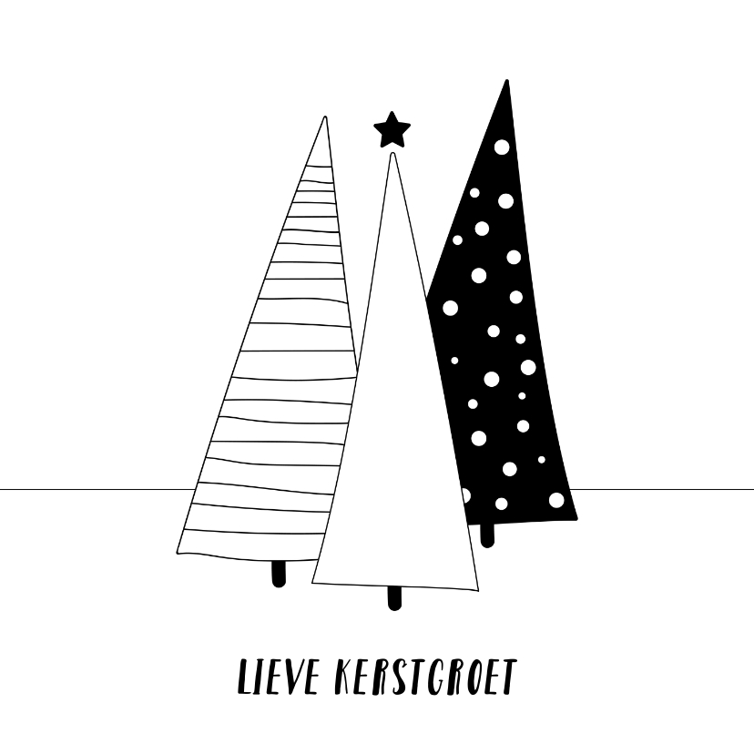 Kerstkaarten - Moderne kerstkaart kerstbomen zwart wit