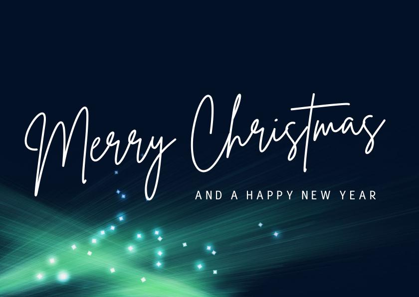 Kerstkaarten - Moderne kerstkaart Merry Christmas licht mint groen