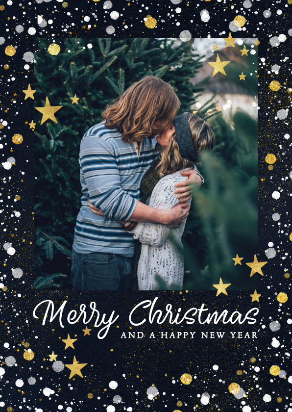 Kerstkaarten - Moderne kerstkaart met foto, gouden confetti en sterren