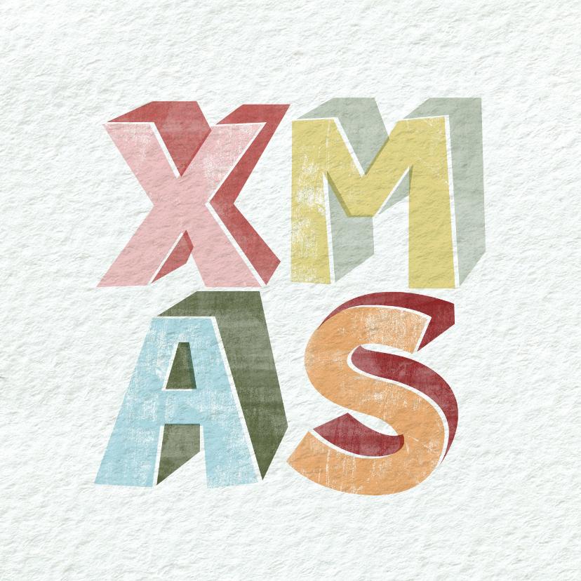 Kerstkaarten - Moderne kerstkaart met geïllustreerde tekst xmas