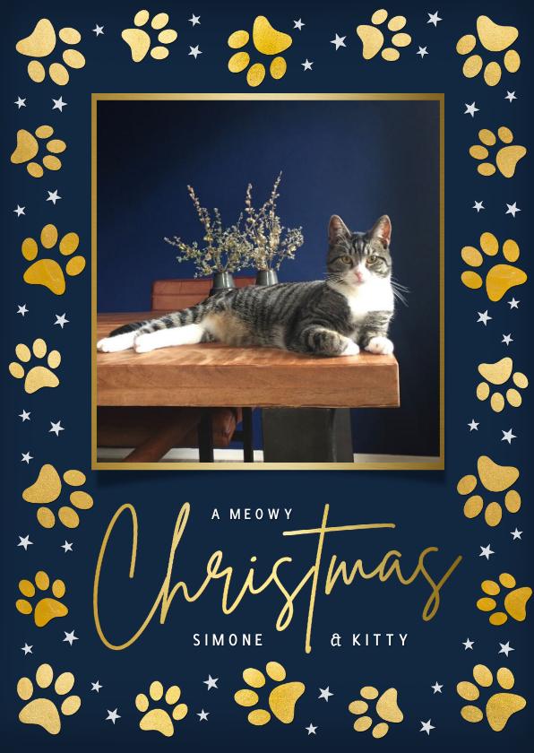 Kerstkaarten - Moderne kerstkaart met gouden pootafdrukjes en foto kat