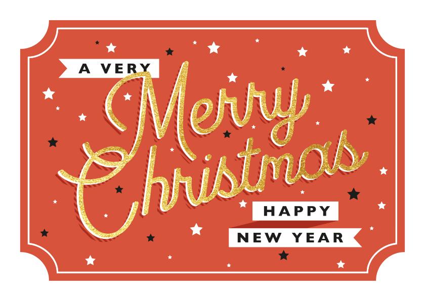 Kerstkaarten - Moderne kerstkaart met retro typografie