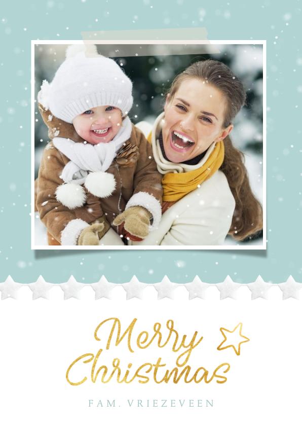 Kerstkaarten - Moderne kerstkaart met winter sfeer met sneeuwvlokjes kader