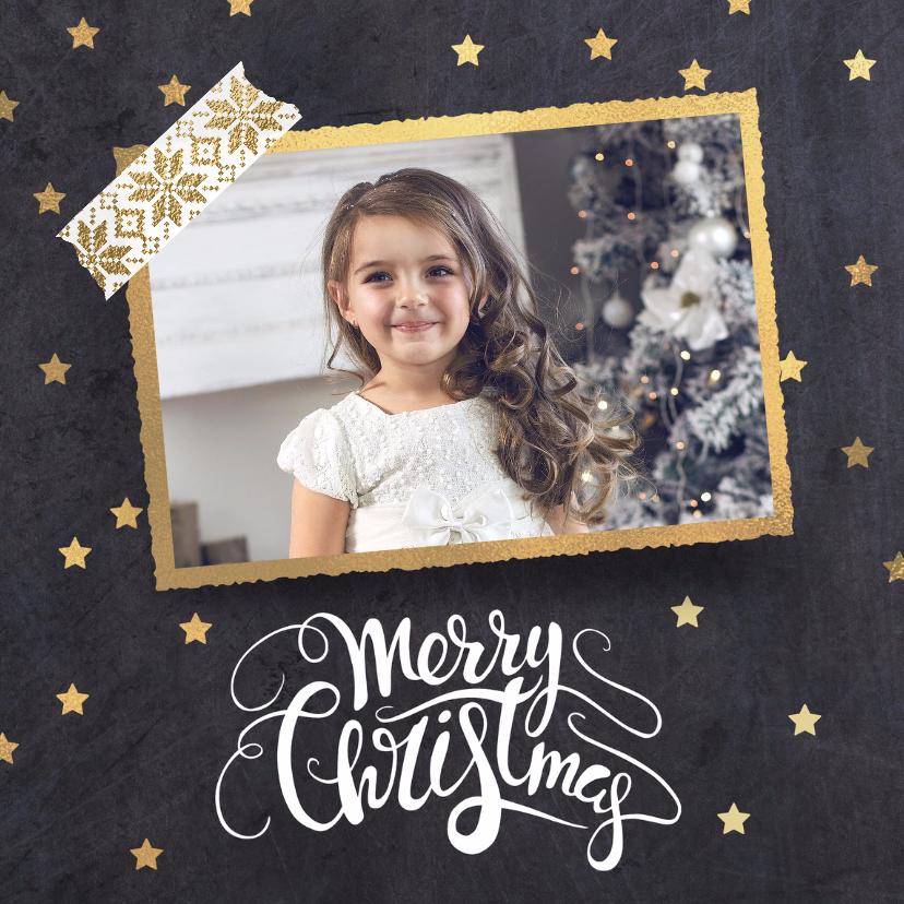 Kerstkaarten - Moderne kerstkaart zwart goud foto