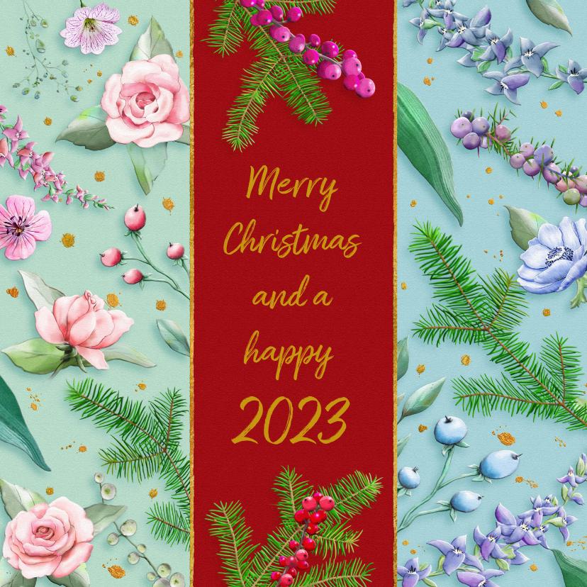 Kerstkaarten - Mooie kerstkaart met bloemen en diverse takjes op kleurbanen