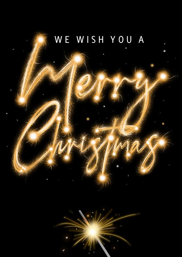 Kerstkaarten - Mooie kerstkaart met vuurwerk op zwarte achtergrond.