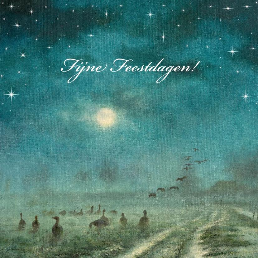 Kerstkaarten - Natuurkerstkaart met wintertafereel Ganzen in het maanlicht
