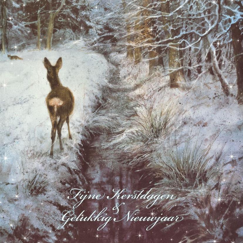 Kerstkaarten - Natuurkerstkaart met wintertafereel 'Hertje bij wintersloot'