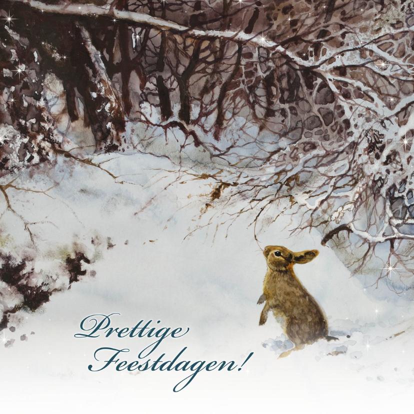 Kerstkaarten - Natuurkerstkaart met wintertafereel 'Konijn in winterbos'