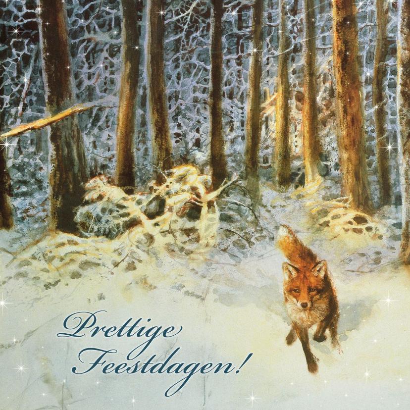 Kerstkaarten - Natuurkerstkaart met wintertafereel 'Vos in het bos'