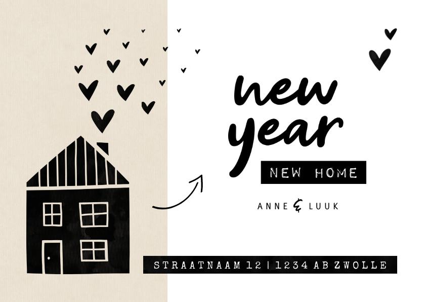 Kerstkaarten - New year new home kraft huisje met hartjes