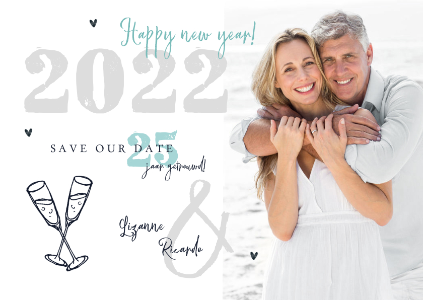Kerstkaarten - Nieuwjaarskaart 2022 save the date jubileum foto champagne