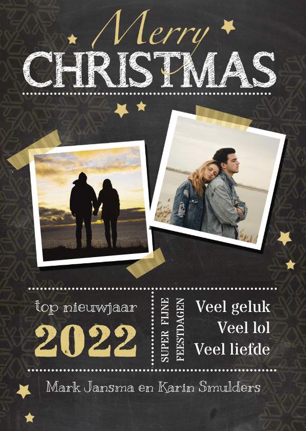 Kerstkaarten - nieuwjaarskaart krijtbord ster av