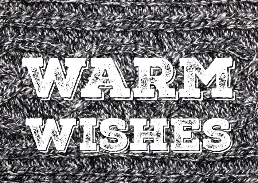 Kerstkaarten - Nieuwjaarskaart Sending Warm Wishes 3 trui grijs